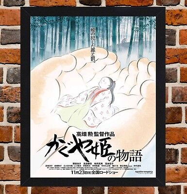 Framed The Tale Of Princess Kaguya Movie Poster A4 / A3 Size In Black Frame. -