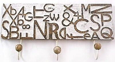 New Unique Shabby Chic Wooden Hand Carved Letters Wall Hat/coat 3*hook Rack