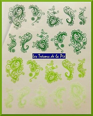 STICKERS ONGLES WATER DECAL (x20) - Nail art - Volutes - Vert
