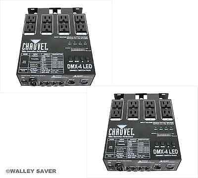 Lot of 2 Chauvet DMX 4 LED relay dimmer switch controller pack dj stage lighting