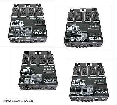 Lot of 4 Chauvet DMX 4 LED relay dimmer switch pack dj stage club lighting