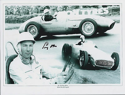 Sir Stirling Moss F1 Racing Driver SIGNED 10x8 MONTAGE Photo AFTAL COA Autograph