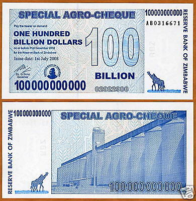 Zimbabwe 100,000,000,000 ( 100 billion ) 2008, Pick 64 UNC