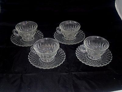 4 sets of Vintage Cups & Saucers by Fostoria in Colony Pattern