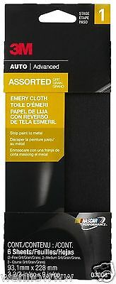 """3M 03008 3-2/3"""" x 9"""" ( 93mm x 229mm ) Emery Cloth with Assorted Grit Sizes"""
