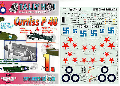 TALLY HO! 48004 - DECALS 1/48 CURTISS P 40 Pt. 1