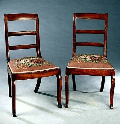 Pair   REGENCY STYLE CARVED WALNUT NEEDLEPOINT SIDE CHAIRS ~ FLORAL & FOLIATE