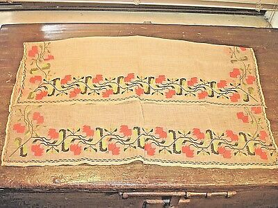 "Antique Greek ""tsevres"" Handmade Table Runner Embroidery Museum Quality Rare!"