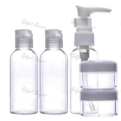5 Make Up Travel Bottle Set Bag 100ml Clear, Flight, Airport, Security Approved