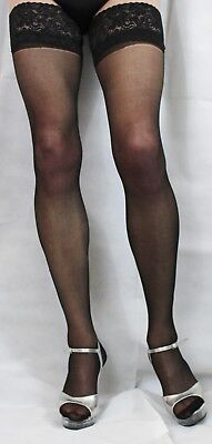 Black 15 Denier Satin Sheen Large Size Lace Top Hold Up Stockings High Quality