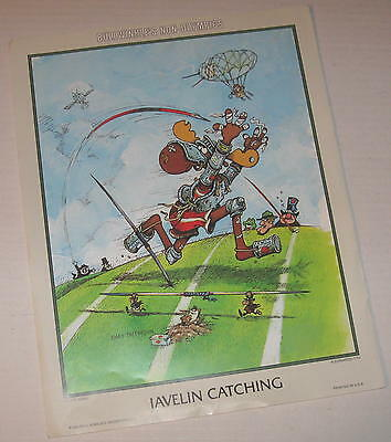 "1984 Bullwinkle & Friends Non-Olympics Poster ""Javelin Catching"" 11"" x 14"""
