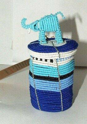 South African Beaded Animal Box with Elephant top FREE SHIPPING #05