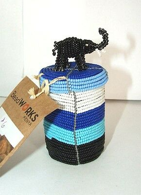 South African Beaded Animal Box with Elephant top FREE SHIPPING #06
