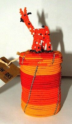 South African Beaded Animal Box with Giraffe top FREE SHIPPING #10