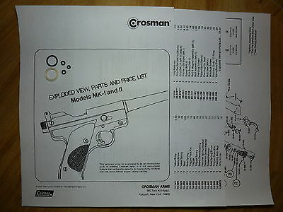Crosman MK 1 2 Mark I Mark II - Seal Kit - Exploded View With Guide + Parts List