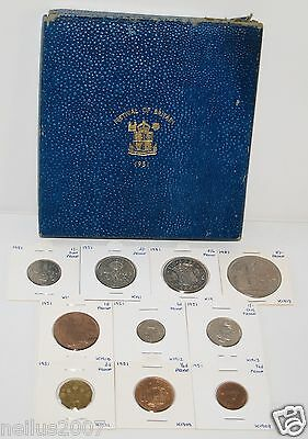 1951 Proof Set George VI  All aFDC Condition 10 Coins Blue Box Festival Britain