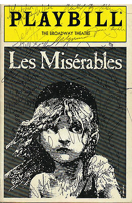 Les Miserables OrIginal Cast SIGNED Playbill Colm Wilkinson Terrence COA