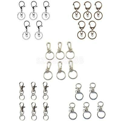 Lot Trigger Clasps Swivel Clip Snap Hook Key Ring Bag Charms Findings+Split Ring