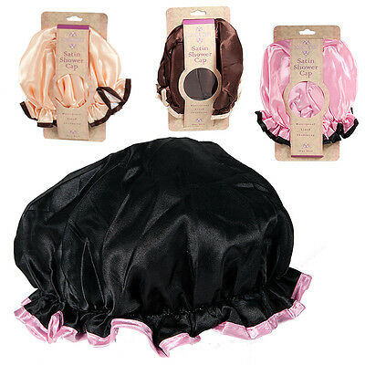 Ladies Shower Cap Silk Satin Womens Waterproof Elasticated Bath Hat Salon Hair