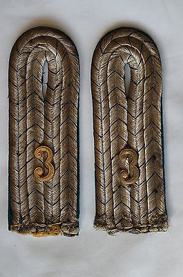 WW1 Imperial German Royal Prussian  Jäger Bnn 3 Leutnant Shoulder Straps Pair