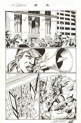 Ultimate Spider-Man #32 p.12 - Police Outside a Bank - 2003 art by Mark Bagley
