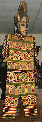 "Very rare Ibo mask and garment of MMWO society Nigeria 70"" tall"