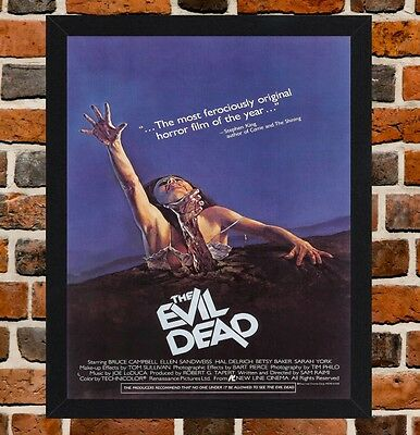 Framed The Evil Dead Movie Poster A4  / A3 Size Mounted In Black / White Frame