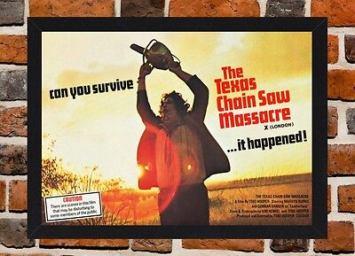 Framed The Texas Chain Saw Massacre Movie Poster A4  / A3 Size In Black Frame