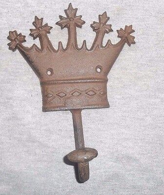 CROWN COAT HAT CLOTHES HOOK HANGER CAST IRON Wall Mount King, Queen Prince DA