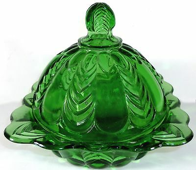 "1898 US Glass Emerald Green Florida Herringbone Pattern 6""t Covered Butter Dish"