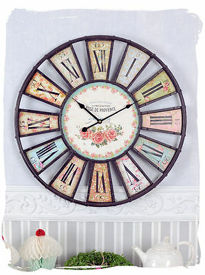 Antique Watch Shabby Chic Wall clock Vintage Rose de Provence Metal clock