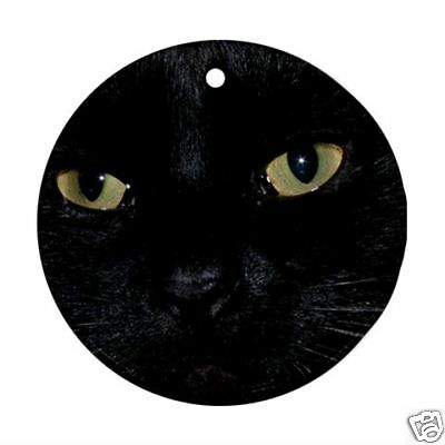 Black Cat Eyes Round Christmas Ornament