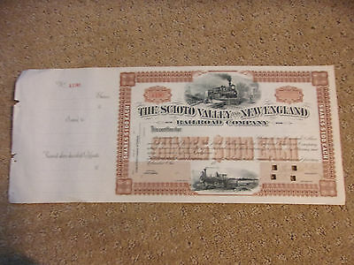 1800's The Scioto Valley And New England Railroad Company Stock Certificate #2