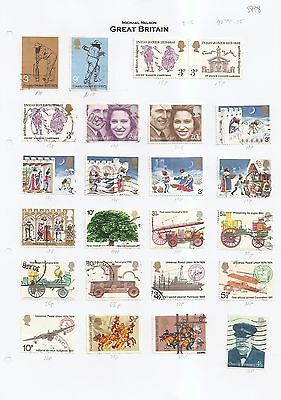 1970's used commemoratives on page cat £8 from GB collection w5898