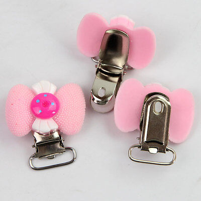 4 Pcs Candy  Bowknot Suspender Metal Clips Plastic Insert 4.0*2.5 cm New