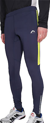 More Mile Thermal Mens Long Running Tights - Navy/Flo