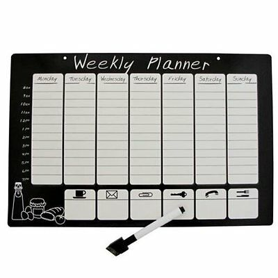 Reusable Wipeable Fridge Magnetic Weekly Planner Organiser Calendar Memo Board