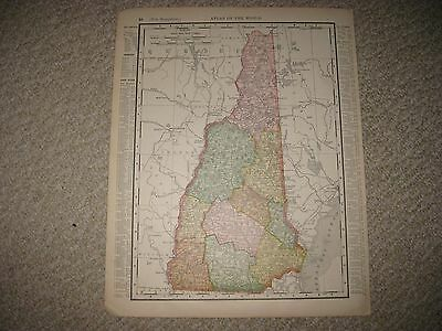 Superb Antique 1898 New Hampshire Maine Map Railroad Detailed Fine Nr