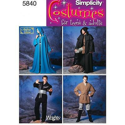 SIMPLICITY SEWING PATTERN Unisex Hooded Capes and Mens Fantasy Costumes 5840 A
