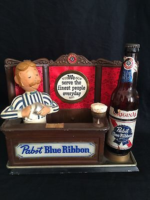 Pabst Blue Ribbon Beer Lighted Back Bar Sign Vintage Milwaukee PBR Bartender