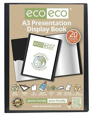 eco-eco A3 50% Recycled 20 Pocket Black Folder Presentation Display Book