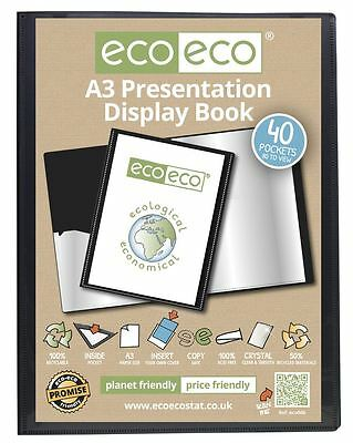 eco-eco A3 50% Recycled 40 Pocket Black Folder Presentation Display Book