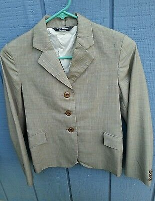 GRAND PRIX Girls 16 Slim Taupe w/Blue Box Plaid Show Jacket GUC