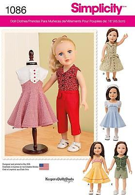 Simplicity Sewing Pattern 18 Inch Doll Clothes Dress Skirt Bodice Top  1086 A