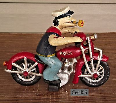 Popeye The Sailor Man With Harley Motorcycle Cast Iron - Ships Free