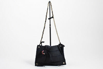 KIDS Lanvin Petite Black Navy Blue Grosgrain Embellished Chain Shoulder Bag