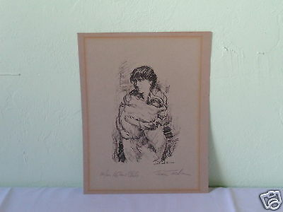 Vintage Signed Numbered Titled Mother & Child Mystery Artist Lithograph Art M23