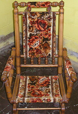 Vintage Wooden Spindle American Rocking Chair (1950's Cloth Back,arms & Seat)
