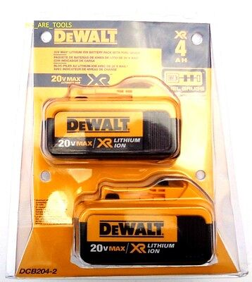 2 NEW IN TWIN PACKAGE GENUINE Dewalt 20V DCB204 4.0 Batteries For Drill, 20 Volt
