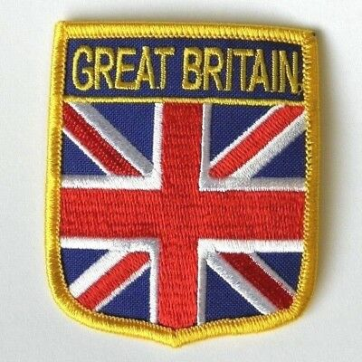 Great Britain United Kingdom Uk Flag Shield Embroidered Patch 3 Inches